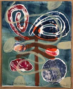 Song For Travel, work on paper, drawing, monotype, dragonfly, spiral, red, blue