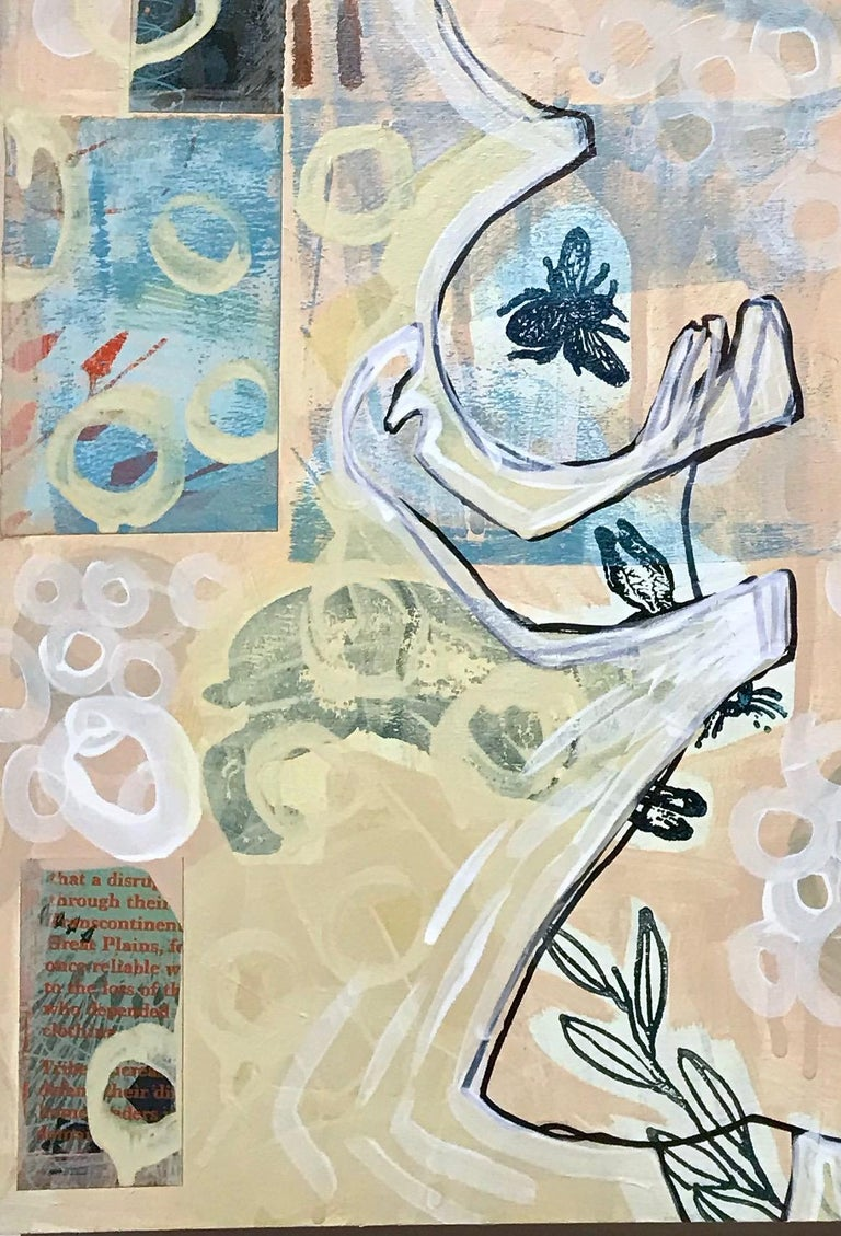 Thought mixed media on wood panel by Melanie Yazzie, woman, rabbit, bee, yellow For Sale 2