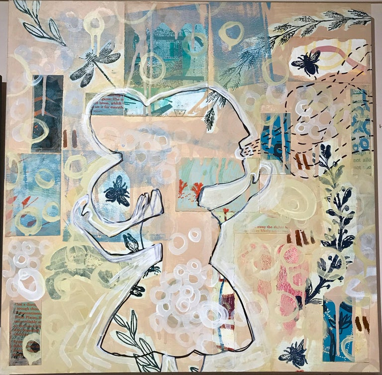 """Thought mixed media on wood panel by Melanie Yazzie, woman, rabbit, bee, yellow  As a printmaker, painter, and sculptor, my work draws upon my rich Diné (Navajo) heritage. The work I make attempts to follows the Diné dictum """"walk in beauty"""""""