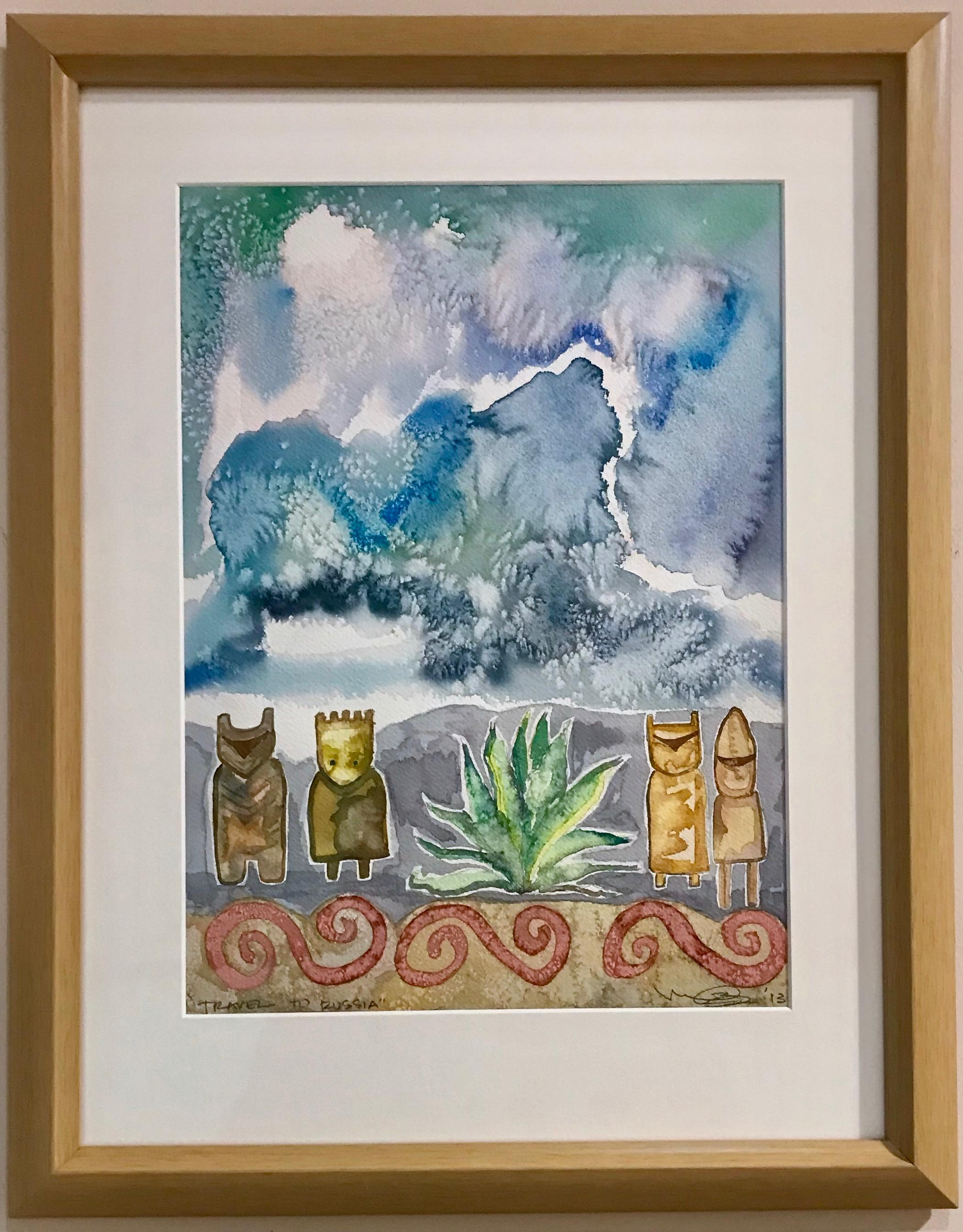 Travel to Russia, painting by Melanie Yazzie, gouache, watercolor, blue, white