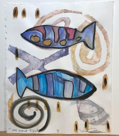 We Went Fishing, mixed media on paper, fish, blue, red, yellow, spirals