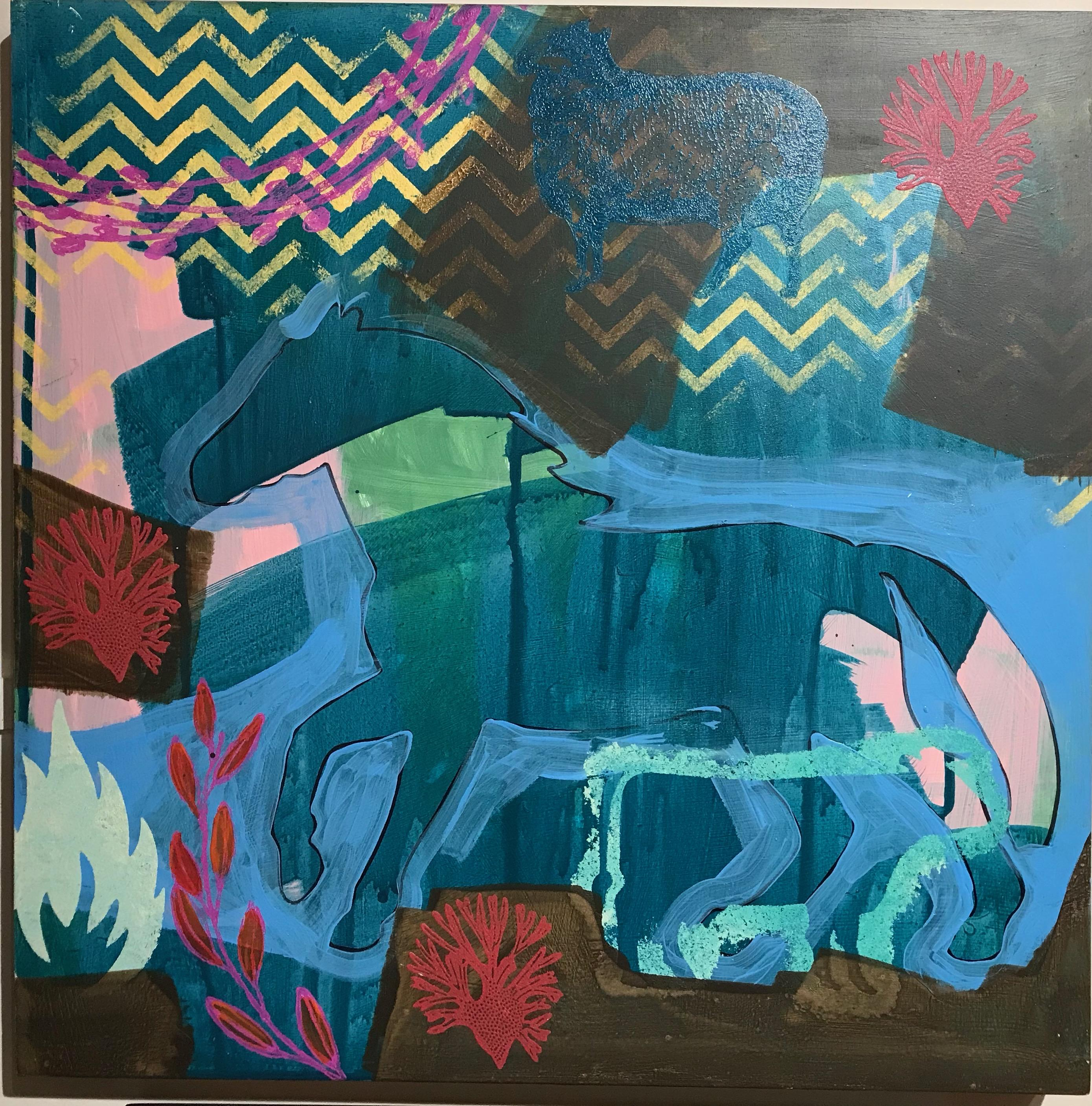 Wide Ruins Morning, painting by Melanie Yazzie, blue, horse, Navajo, red, green