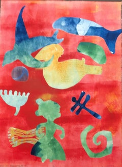 Carry It Forward, Melanie Yazzie monotype birds fish woman dragonfly red yellow