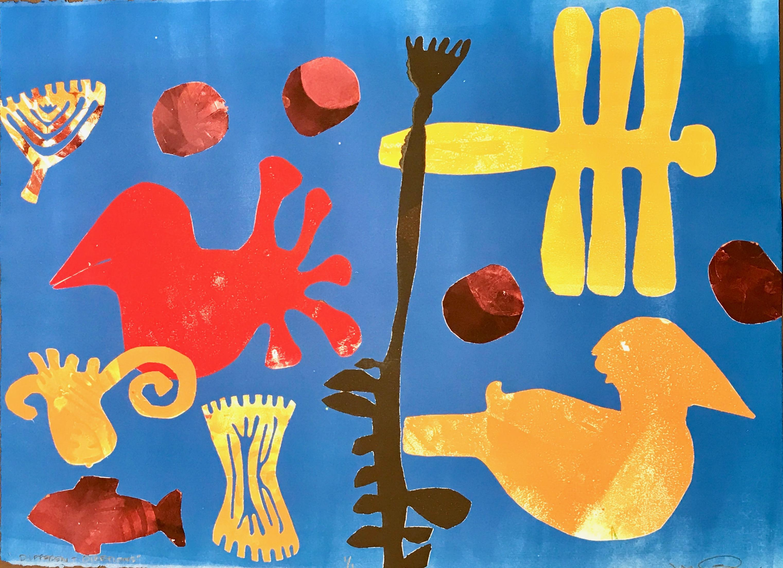 Different Directions by Melanie Yazzie, monotype, fish, bird, blue,red,gold
