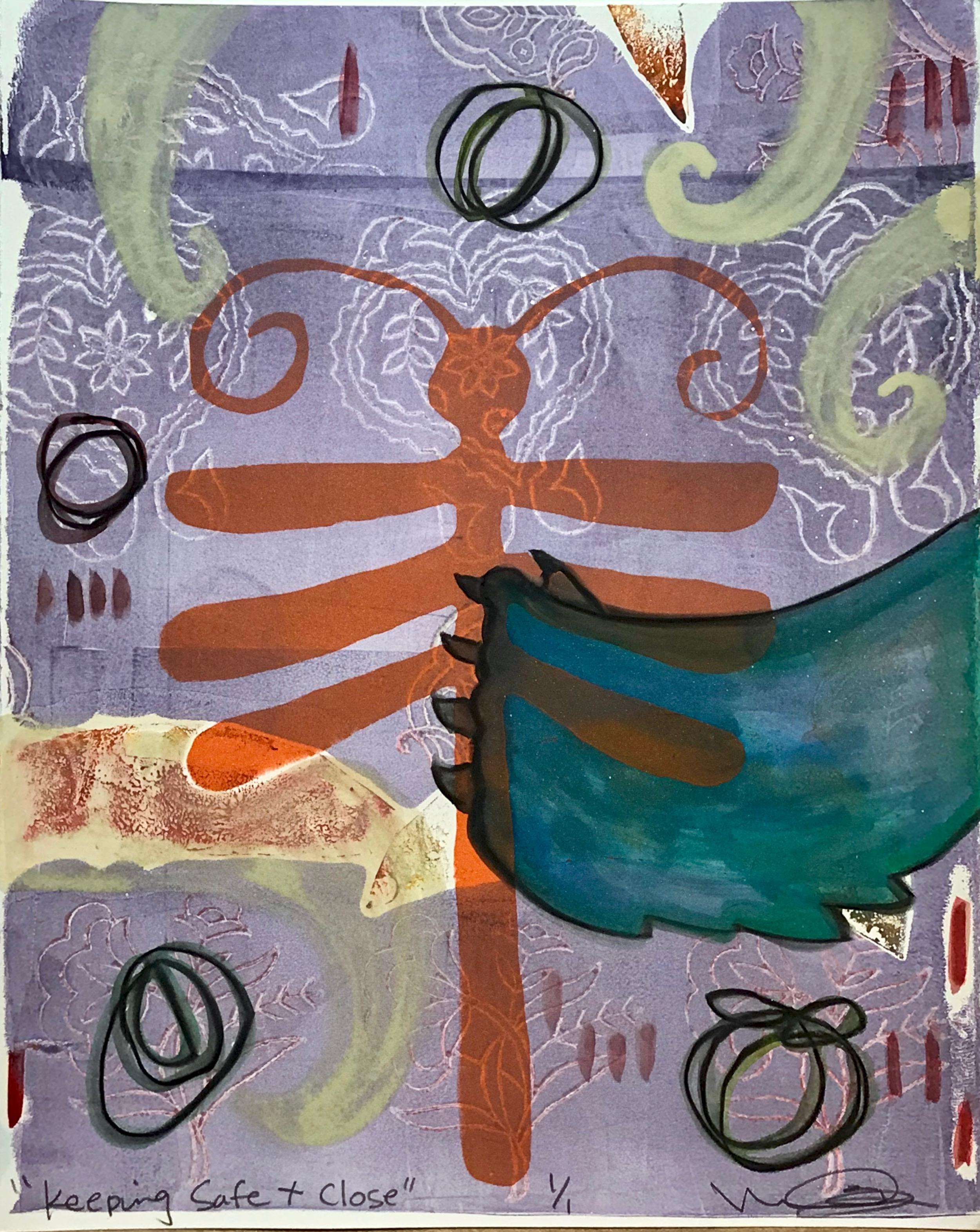 Keeping Safe + Close, mixed media monotype on paper. purple,orange, dragonfly