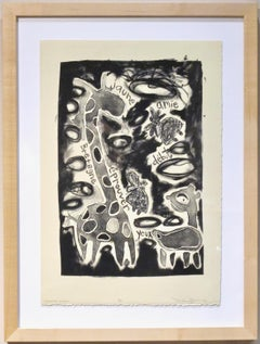 Learning French, Melanie Yazzie lithograph black white giraffes French language