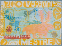 Mestre by Melanie Yazzie, monotype, Venice, Italy, Navajo, yellow, pink, blue