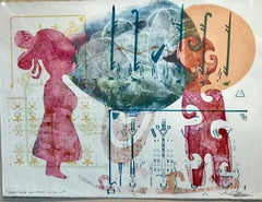 They Are Always With Us, Melanie Yazzie mixed media monotype unique red blue yei