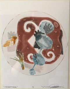 Together monotype by Melanie Yazzie small framed original print brown white blue