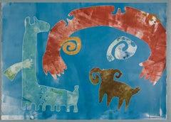 We Belong by Melanie Yazzie, unique monotype, blue, red, ram, dog, spiral,Navajo