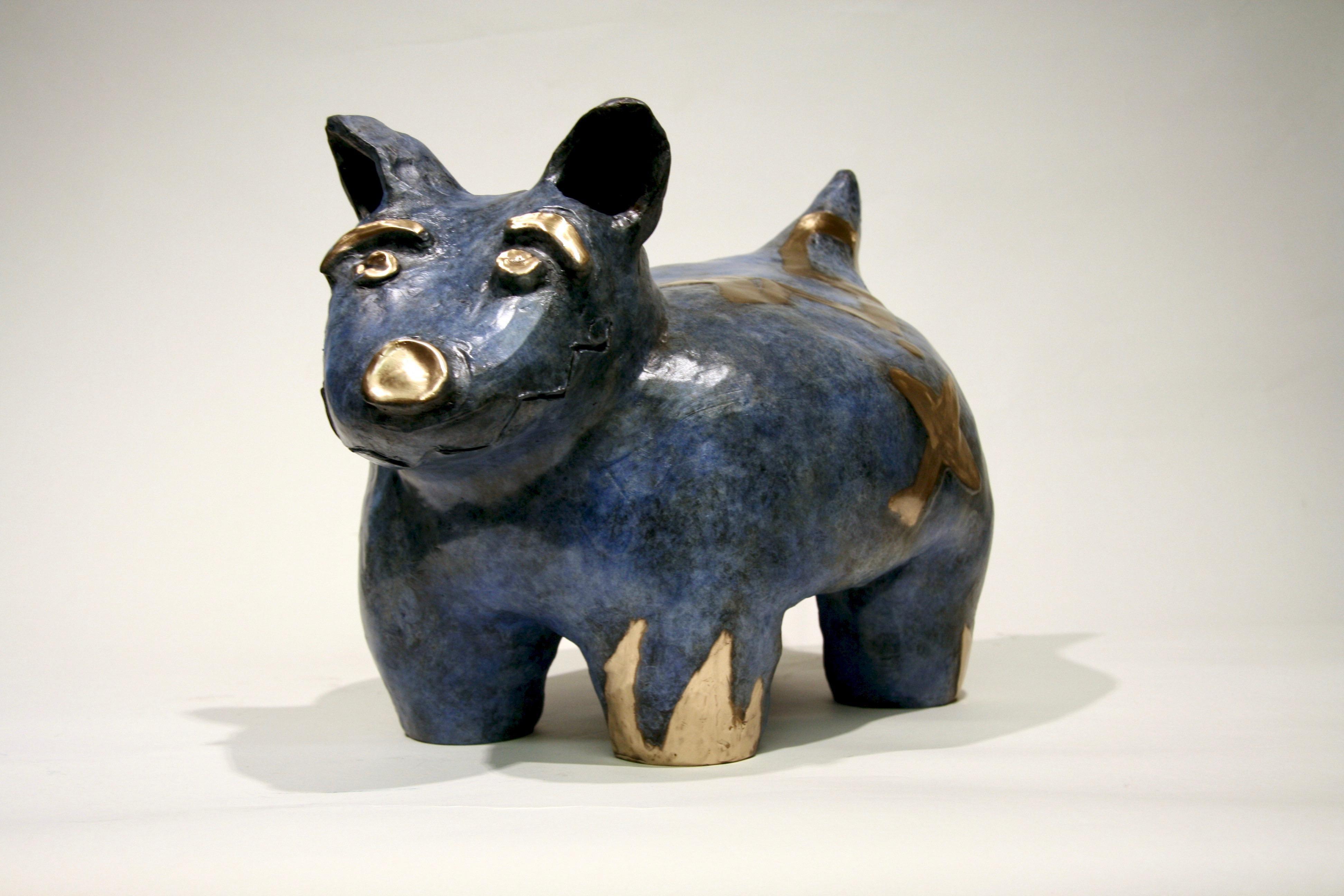 Fred W. Begaye Gives Tours of His Homeland, bronze dog sculpture, Navajo, blue