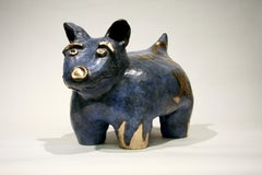Fred W. Begaye Gives Tours of His Homeland, bronze dog sculpture, Navajo, blue