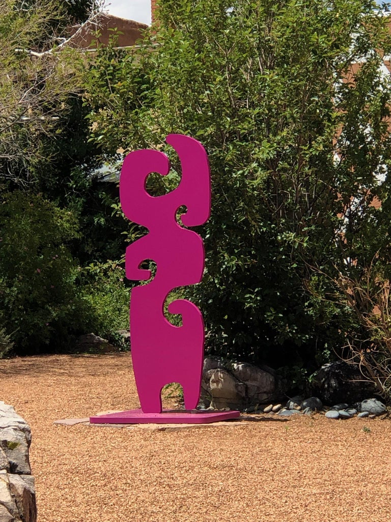 Grandmother, fuschia totem abstract sculpture Navajo contemporary,indoor,outdoor - Contemporary Sculpture by Melanie Yazzie