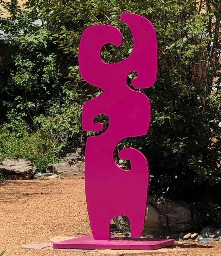 Melanie Yazzie Abstract Sculpture - Grandmother, fuschia totem abstract sculpture Navajo contemporary,indoor,outdoor