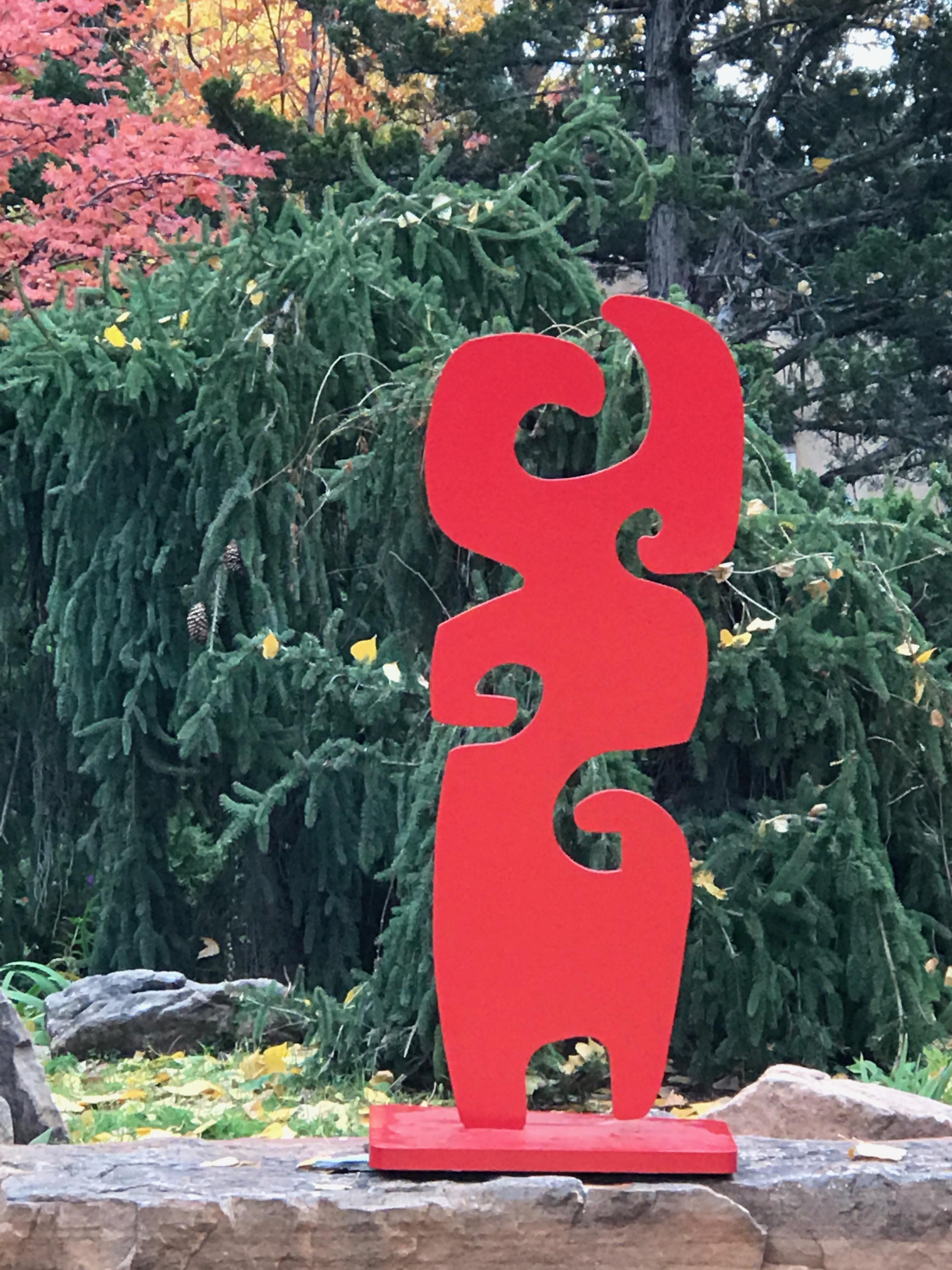 Grandmother, Melanie Yazzie, red sculpture, abstract, Navajo, outdoor, indoor