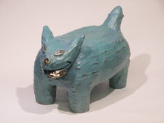 John Blackhorse Hangs Out At Earl's, bronze rez dog sculpture, blue, Navajo