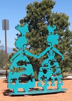 Making New Friends, figurative sculpture, Korean and Navajo Women, teal, female