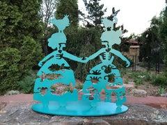 Making New Friends, medium, aluminum sculpture, Female figures, Korean, Navajo