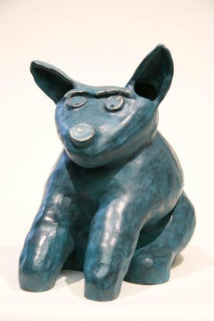 Marvin Tso Likes Green Chile Cheeseburgers, bronze dog sculpture, teal, seated