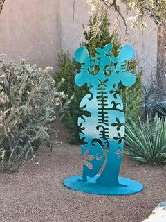 Pollen Keeper, abstract aluminum sculpture Navajo teal outdoor indoor
