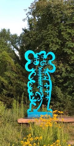 Pollen Keeper II, sculpture, Navajo turquoise Contemporary, outdoor, indoor art