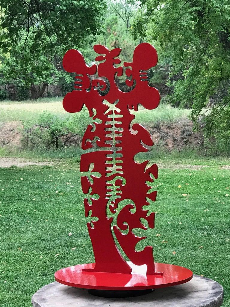 Pollen Keeper, medium, aluminum, powder coat, sculpture, Navajo, Female, red - Gray Abstract Sculpture by Melanie Yazzie