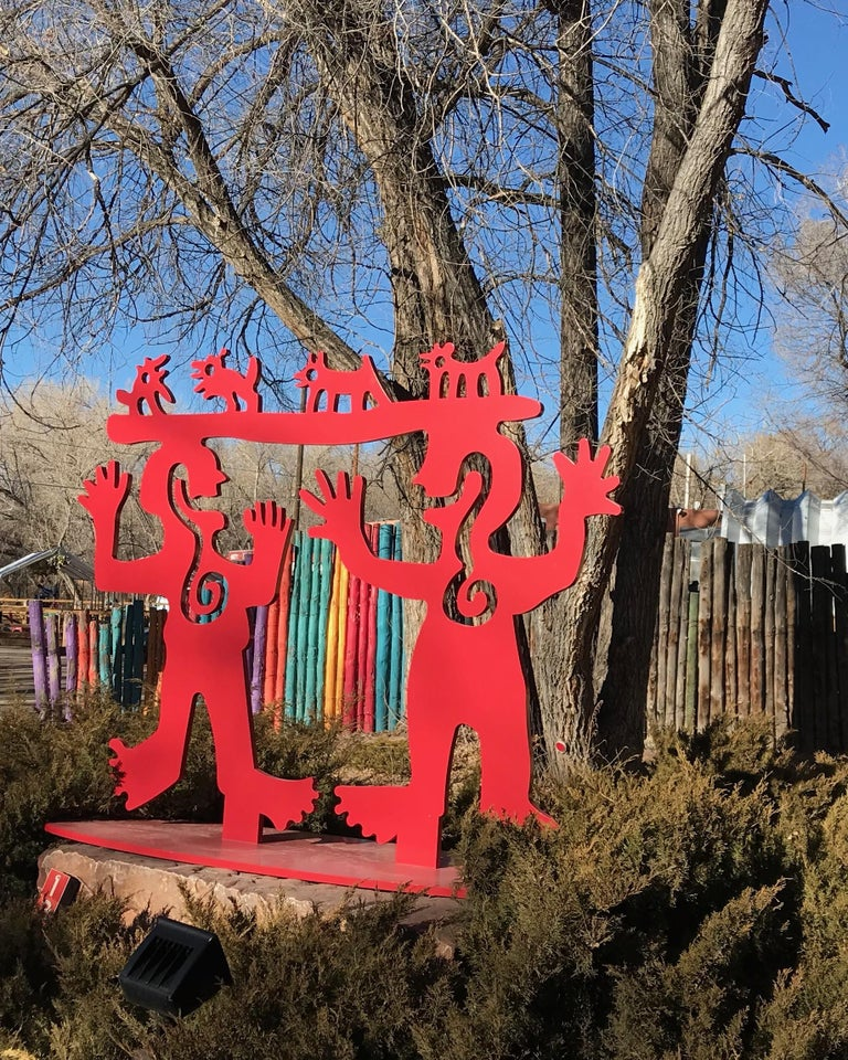Two Minds Meeting, Melanie Yazzie large red sculpture, animals, people, Navajo For Sale 4