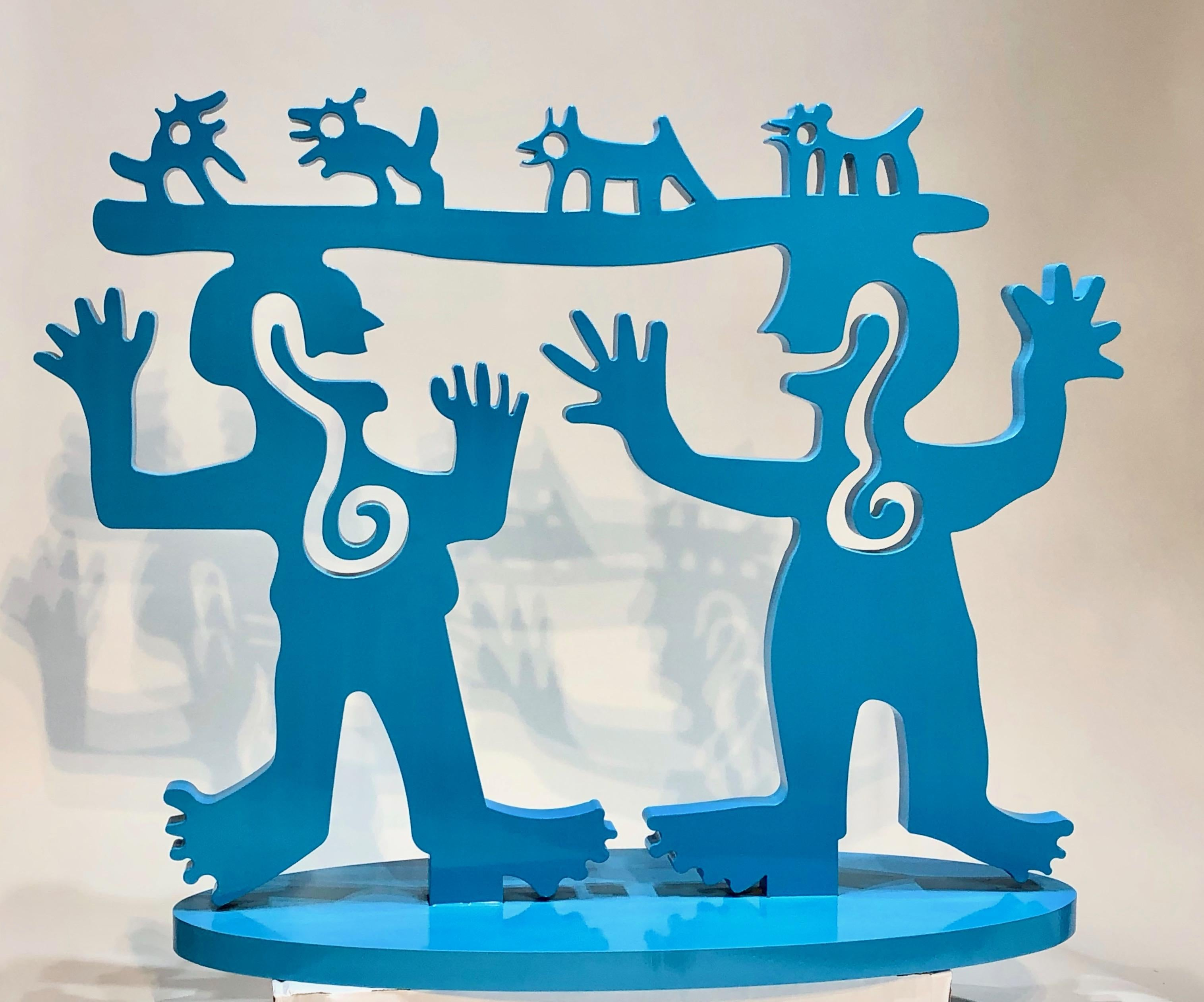 Two Minds Meeting sculpture by Melanie Yazzie, blue aluminum people animals