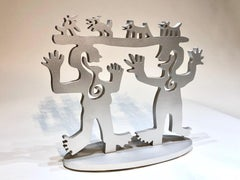 Two Minds Meeting, small silver sculpture limited edition Native American animal