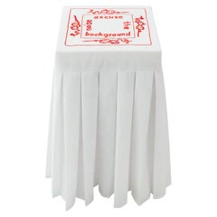 """""""Melatonin 'Excuse'"""" Hand-Embroidered White and Red Cotton and Silk Side Table"""