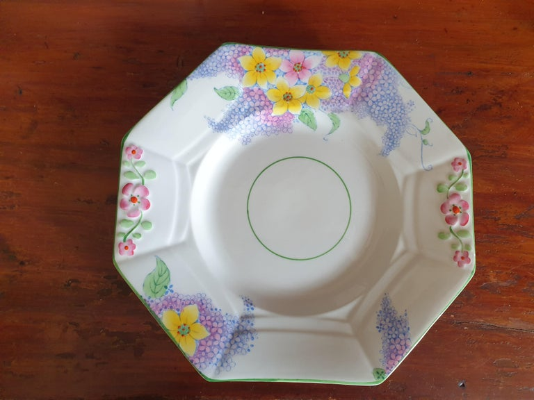 Melba Pink Flower Handle Art Deco Tea Service For Sale 4