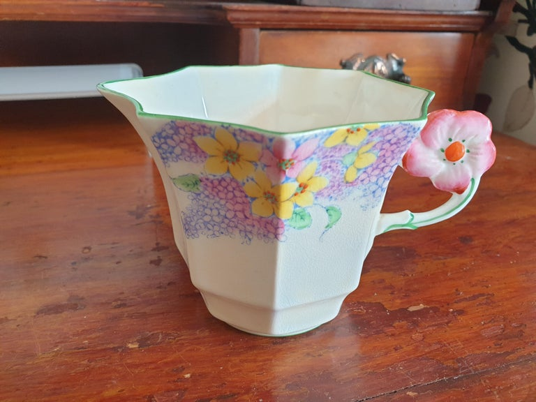 Melba Pink Flower Handle Art Deco Tea Service For Sale 5
