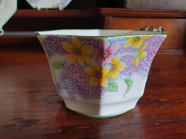 Melba Pink Flower Handle Art Deco Tea Service For Sale 6
