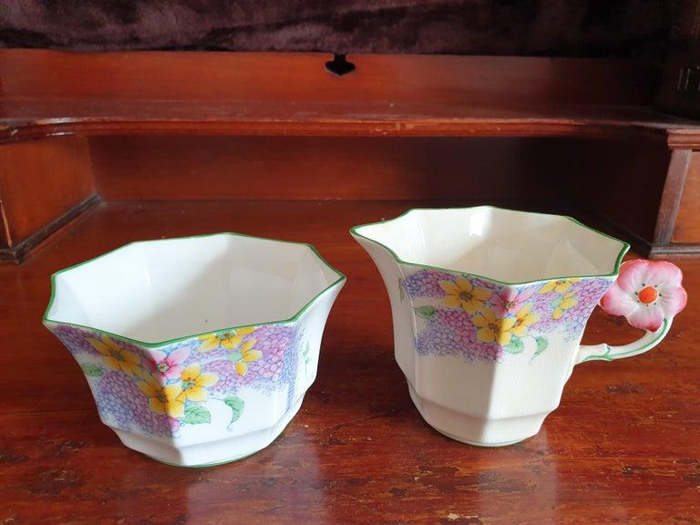 Melba Pink Flower Handle Art Deco Tea Service For Sale 7