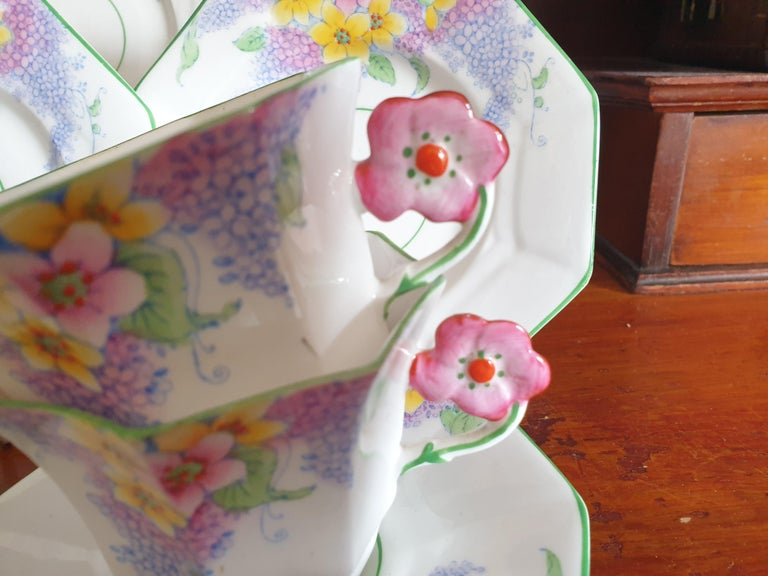 British Melba Pink Flower Handle Art Deco Tea Service For Sale
