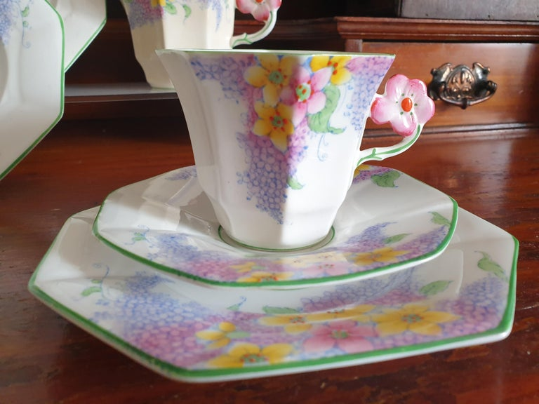 Early 20th Century Melba Pink Flower Handle Art Deco Tea Service For Sale