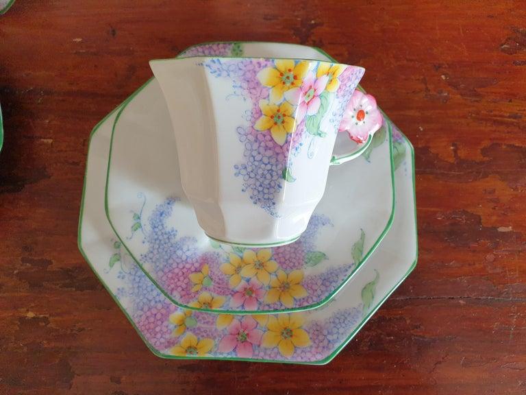 Porcelain Melba Pink Flower Handle Art Deco Tea Service For Sale