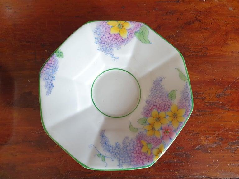 Melba Pink Flower Handle Art Deco Tea Service For Sale 2