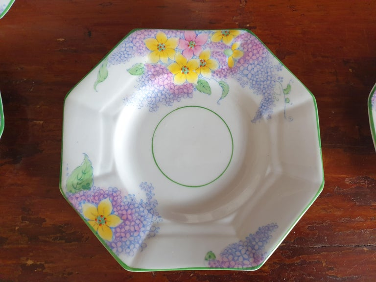 Melba Pink Flower Handle Art Deco Tea Service For Sale 3