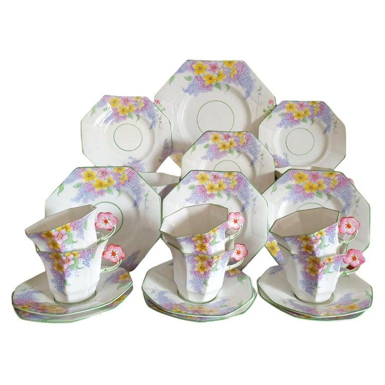 Melba Pink Flower Handle Art Deco Tea Service For Sale