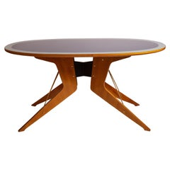 Melchiorre Bega 1950s Italian Wood & Brass Dining Table with Two-Tone Glass Top