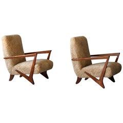Melchiorre Bega 'attributed' Organic Lounge Chairs, Beige Sheepskin, Wood, 1940s