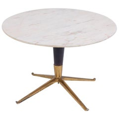 Melchiorre Bega Coffee Table in Marble, Iron Brass, 1950s