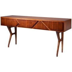 Melchiorre Bega: Important Geometric Four Drawer Console in Walnut, Italy 1950s