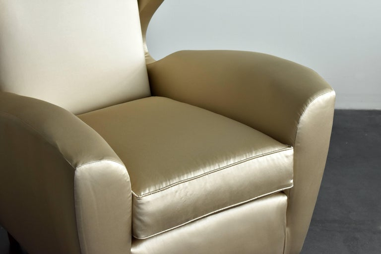 Mid-Century Modern Melchiorre Bega, Lounge or Wingback Chairs in Light Gold Fabric, Italy, 1950s For Sale