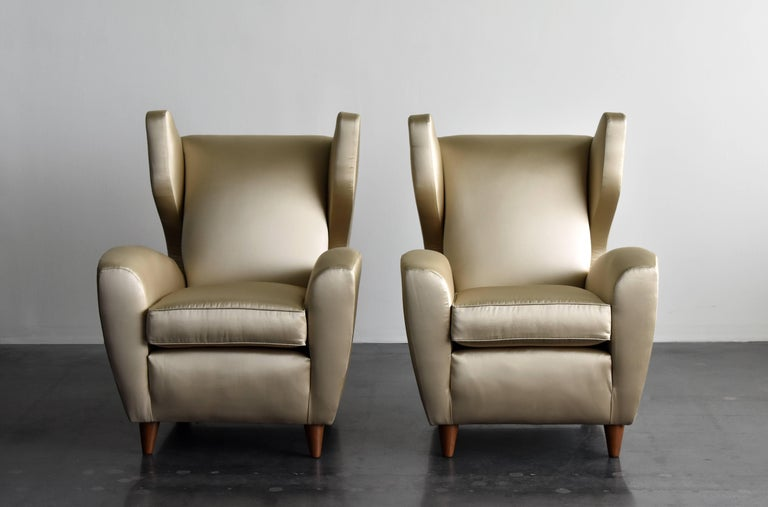 Italian Melchiorre Bega, Lounge or Wingback Chairs in Light Gold Fabric, Italy, 1950s For Sale