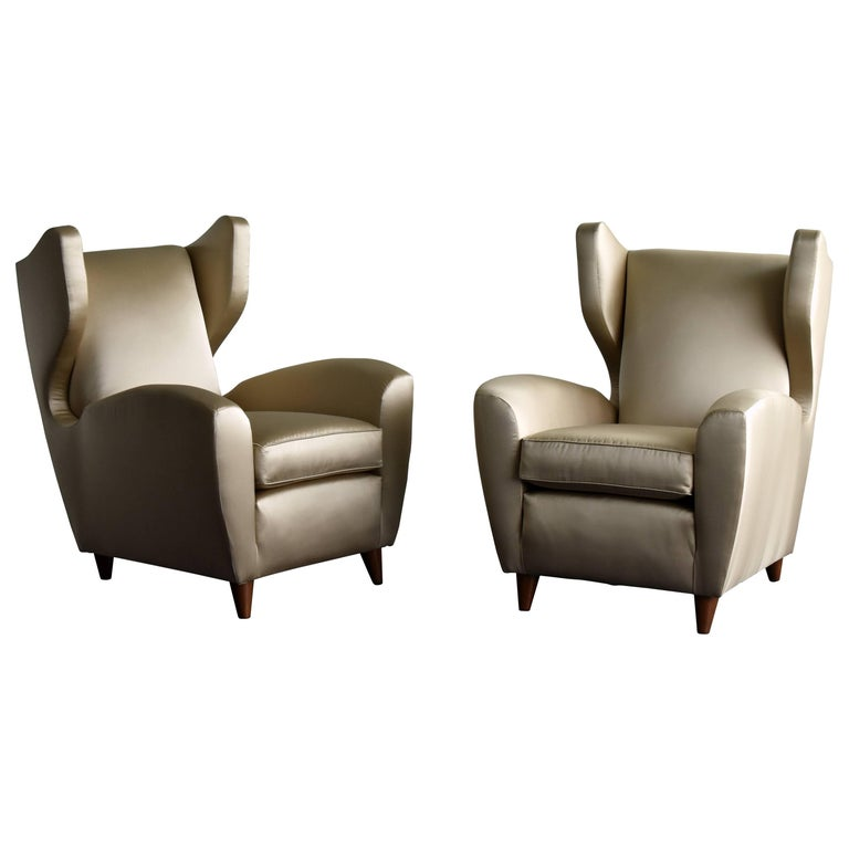 Melchiorre Bega, Lounge or Wingback Chairs in Light Gold Fabric, Italy, 1950s For Sale