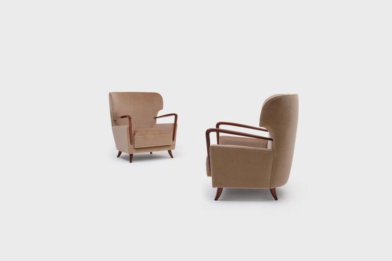Melchiorre Bega Wingback Armchairs, Italy, 1950s For Sale 4