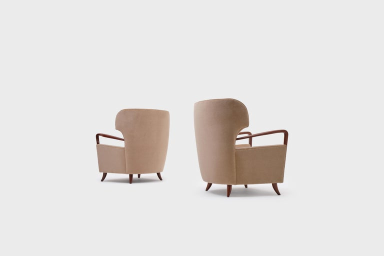 Melchiorre Bega Wingback Armchairs, Italy, 1950s In Excellent Condition For Sale In Rotterdam, NL