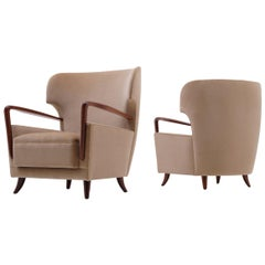 Melchiorre Bega Wingback Armchairs, Italy, 1950s